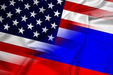 iraq war: Waving USA and Russia Flag Stock Photo