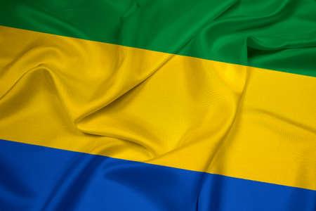 gabon: Waving Gabon Flag Stock Photo
