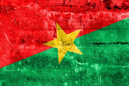 burkina faso: Burkina Faso Flag painted on grunge wall