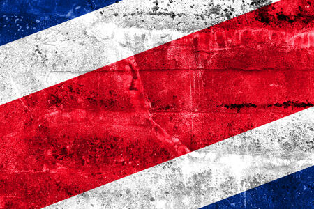 costa rica flag: Costa Rica Flag painted on grunge wall Stock Photo