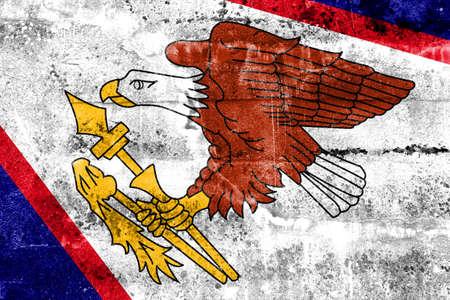 disintegrate: American Samoa Flag painted on grunge wall