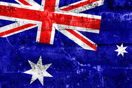 flag australia: Australia Flag painted on grunge wall
