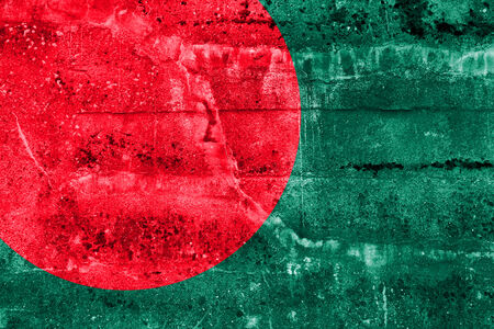 Bangladesh Flag painted on grunge wall