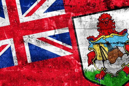 deteriorate: Bermuda Flag painted on grunge wall