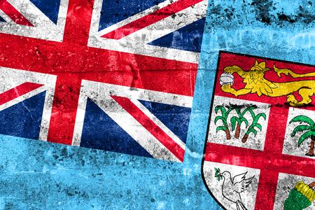 disintegrate: Fiji Flag painted on grunge wall Stock Photo