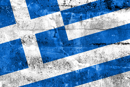 Greece Flag painted on grunge wall