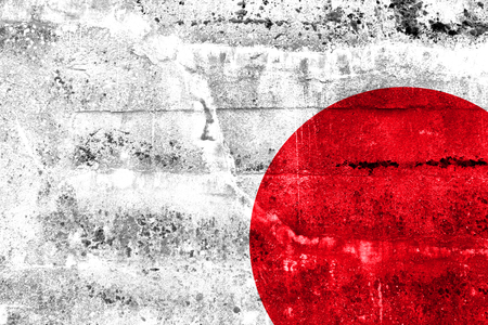 Japan Flag painted on grunge wall