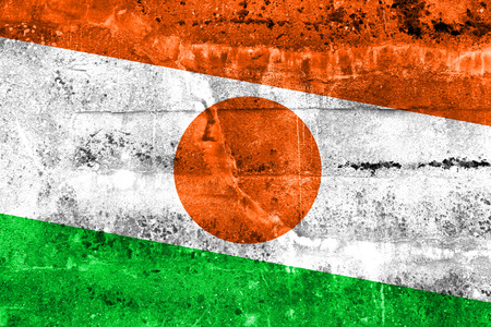 disintegrate: Niger Flag painted on grunge wall Stock Photo