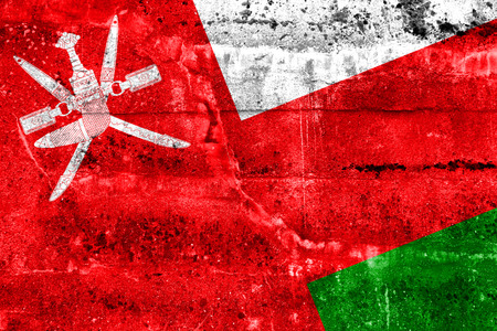 oman background: Oman Flag painted on grunge wall