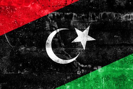lybia: Libya Flag painted on grunge wall