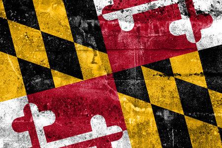 maryland flag: Maryland State Flag painted on grunge wall