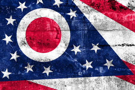 Ohio State Flag painted on grunge wall photo