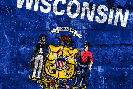 wisconsin state: Wisconsin State Flag painted on grunge wall
