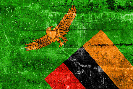 zambia flag: Zambia Flag painted on grunge wall