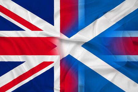 Waving Scotland and United Kingdom Flag photo
