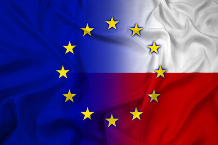 north atlantic treaty organization: Waving Poland and European Union Flag