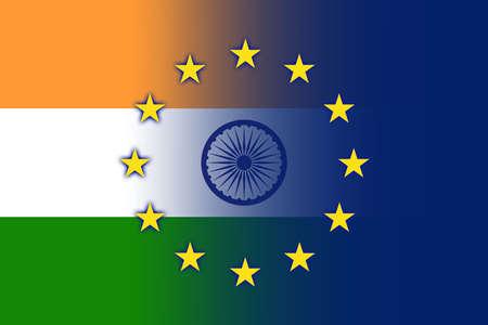 India and European Union Flag photo