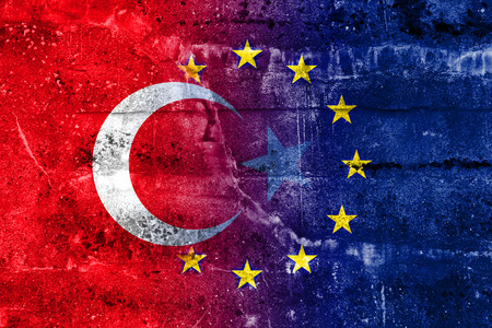 Turkey and European Union Flag painted on grunge wall Stock Photo
