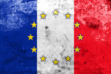 France and European Union Flag with a vintage and old look photo