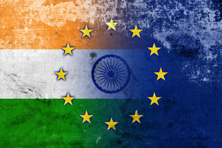 India and European Union Flag with a vintage and old look photo