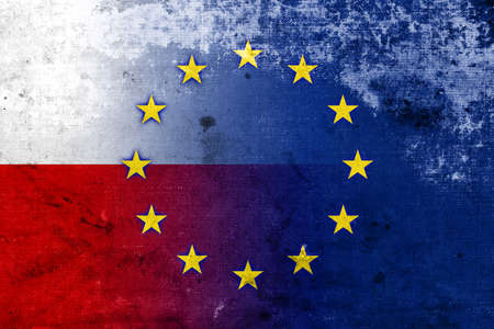 Poland and European Union Flag with a vintage and old look photo