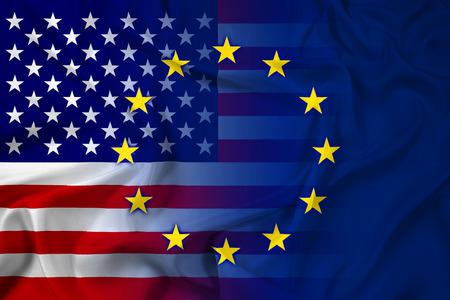 Waving United States and European Union Flag