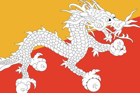 bhutan: Bhutan Flag. Close up.