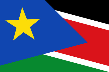 south sudan: South Sudan Flag. Close up. Stock Photo