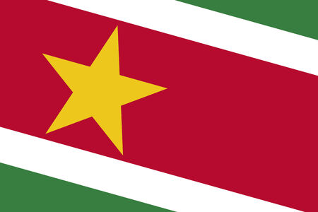 commonwealth: Suriname Flag. Close up. Stock Photo