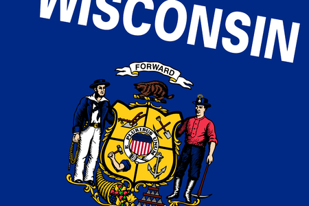 wisconsin state: Wisconsin State Flag. Close up.