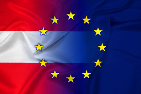 Waving Austria and European Union Flag photo
