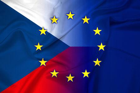 Waving Czech Republic and European Union Flag