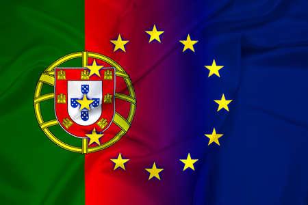 Waving Portugal and European Union Flag photo