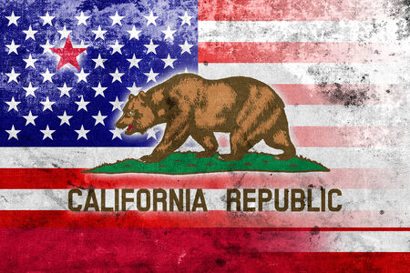 consolidated: USA and California State Flag with a vintage and old look Stock Photo