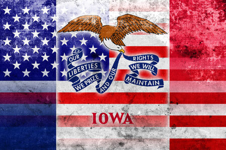 USA and Iowa State Flag with a vintage and old look photo