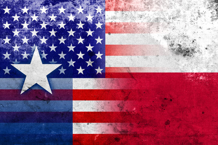 USA and Texas State Flag with a vintage and old look photo