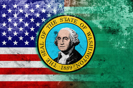 consolidated: USA and Washington State Flag with a vintage and old look