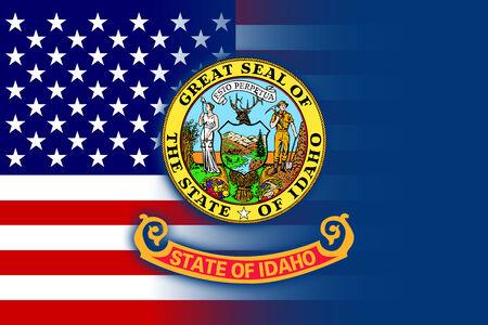 idaho state: USA and Idaho State Flag
