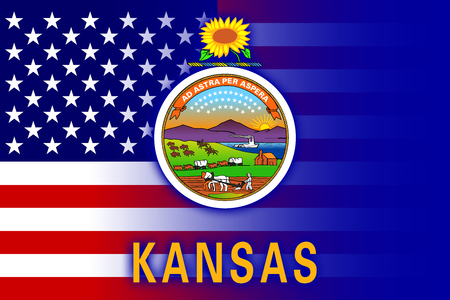consolidated: USA and Kansas State Flag Stock Photo