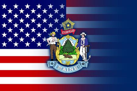 maine: USA and Maine State Flag