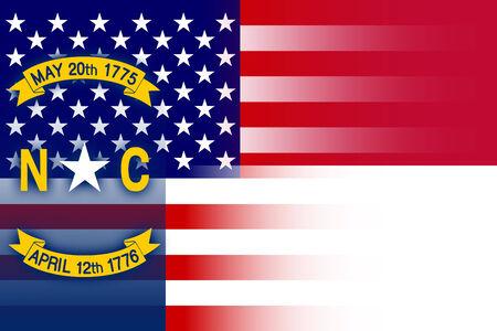 north carolina: USA and North Carolina State Flag