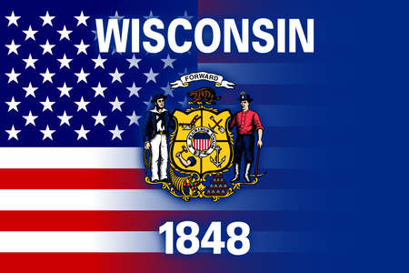 wisconsin state: USA and Wisconsin State Flag