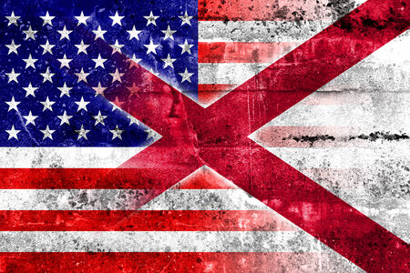 alabama state: USA and Alabama State Flag painted on grunge wall