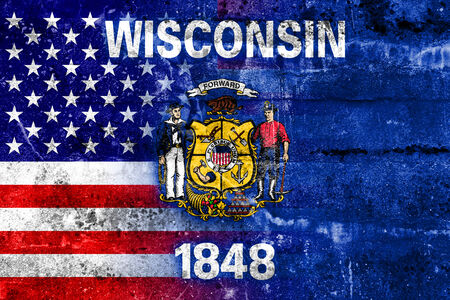wisconsin state: USA and Wisconsin State Flag painted on grunge wall Stock Photo