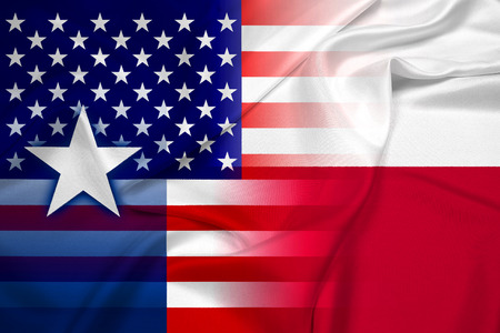 texas state flag: Waving USA and Texas State Flag Stock Photo