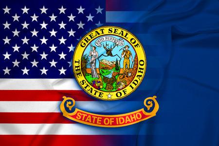 idaho state: Waving USA and Idaho State Flag