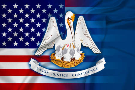louisiana state: Waving USA and Louisiana State Flag