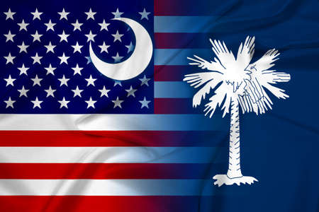 Waving USA and South Carolina State Flag photo
