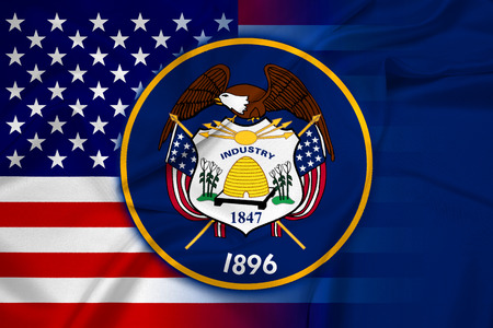 consolidated: Waving USA and Utah State Flag Stock Photo