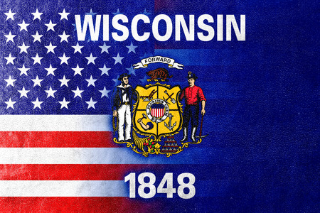 wisconsin state: USA and Wisconsin State Flag painted on leather texture